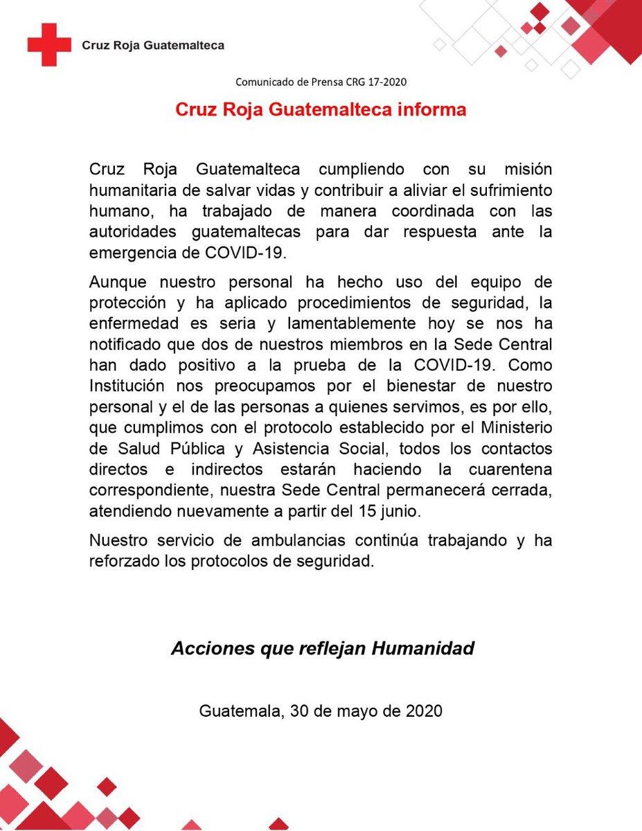 test Twitter Media - La Cruz Roja Guatemalteca informa que dos miembros de su sede central han dado positivo a COVID-19, por lo que esa sede será cerrada y abrirá el 15 de junio. https://t.co/YLgiUgf57I