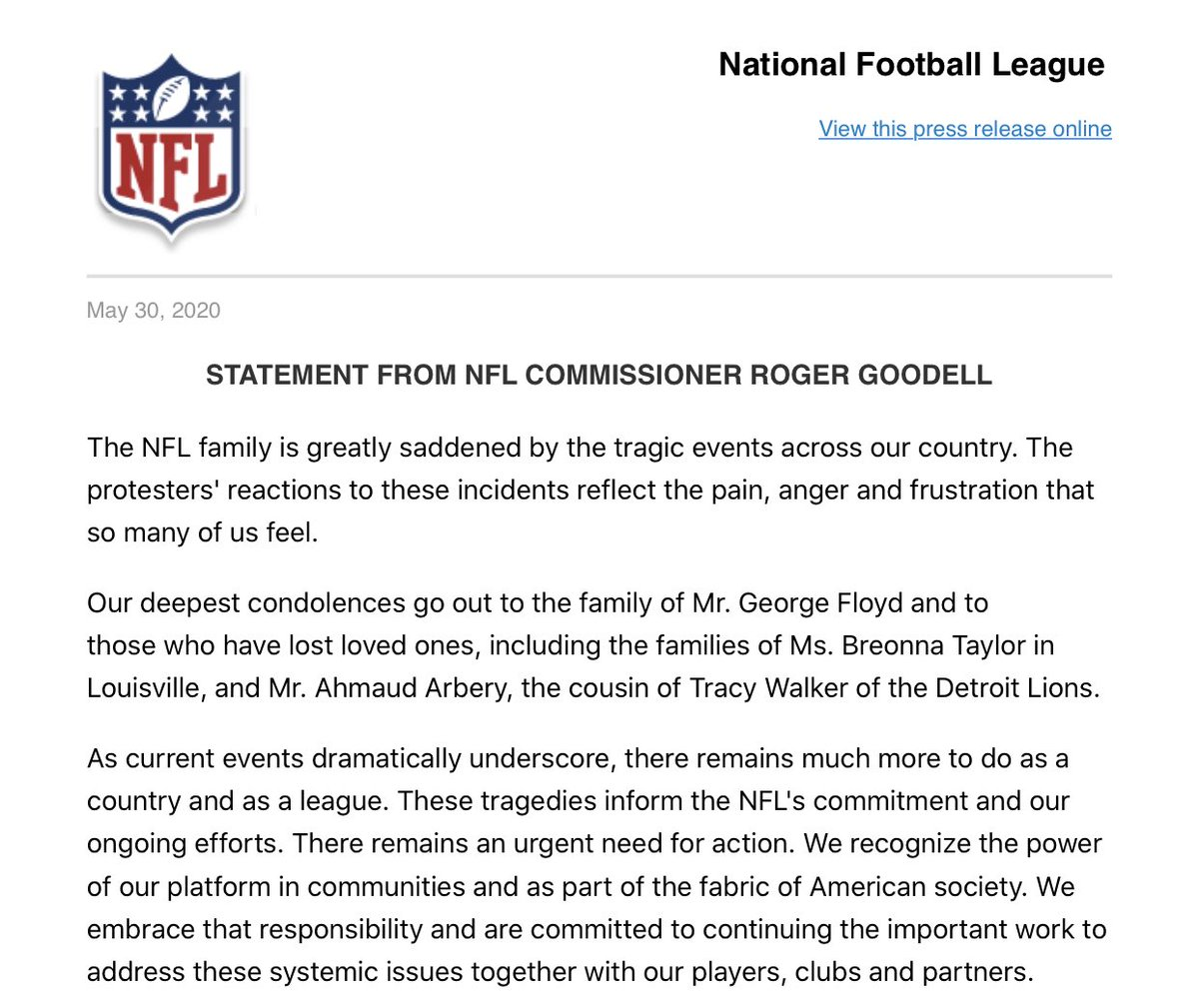 Statement from NFL Commissioner Roger Goodell: https://t.co/Tsrde84mh4