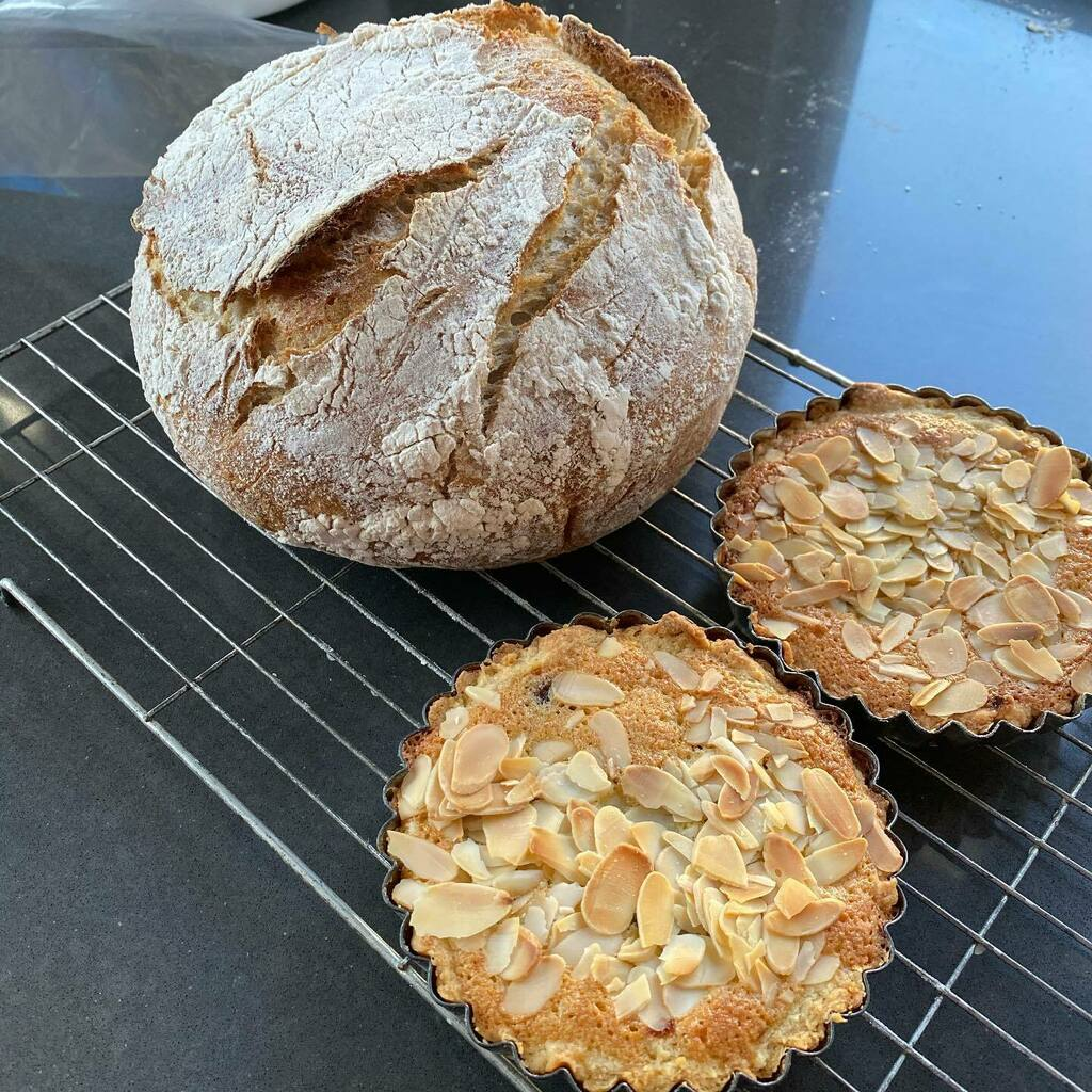 Today's bake, a white #sourdough and some Bakewell tarts