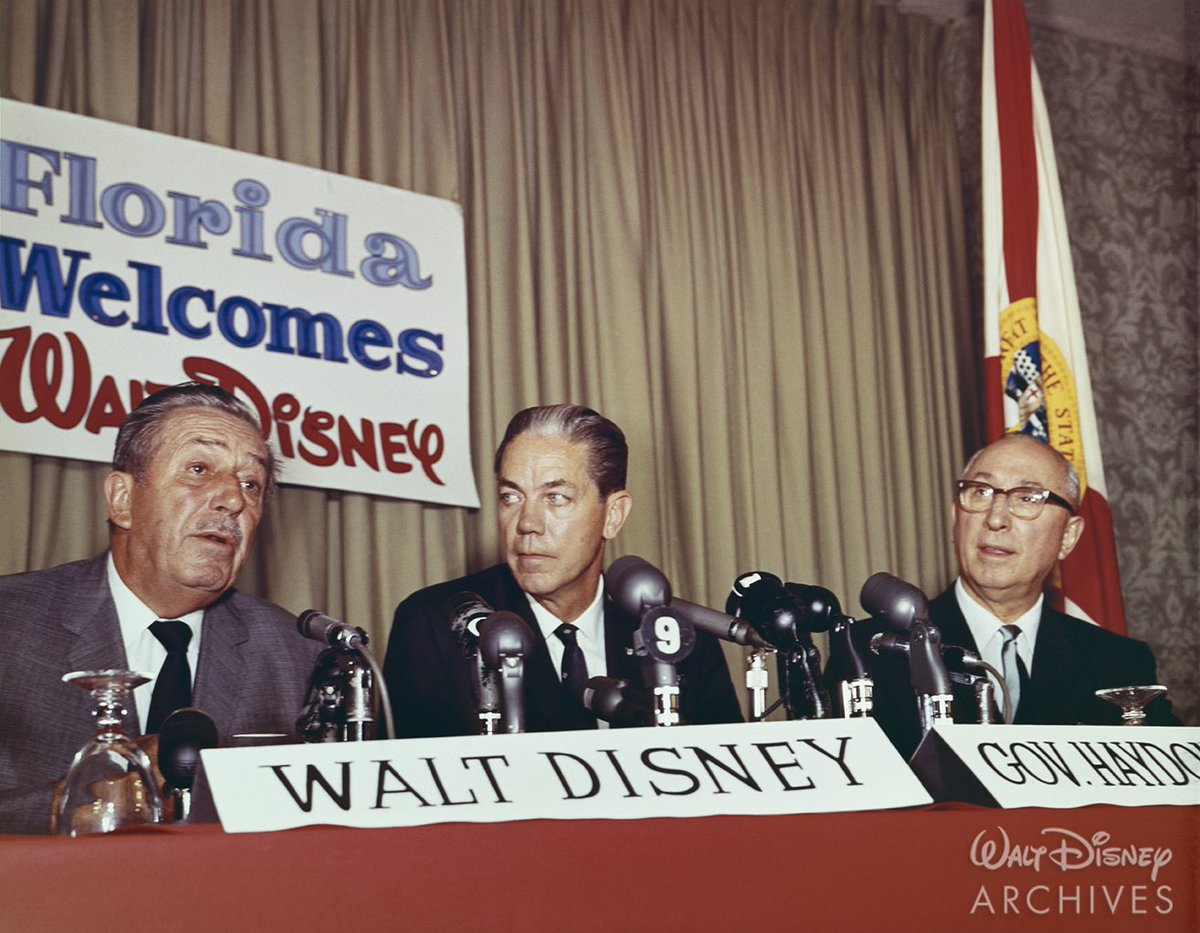 """On this date in 1967, the Walt Disney Company broke ground in Florida for @WaltDisneyWorld! Here are some images of Walt and Roy Disney with Florida Governor, William Haydon Burns, announcing the new """"Florida Project"""" and some aerial photos of the Magic Kingdom being built!"""