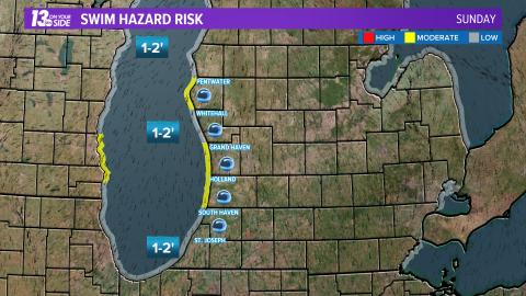 Here's the latest #LakeMichigan swim hazard risk.  Click here for more:   Swim safely!  #wmiwx #miwx @wzzm13 @13OYSwx