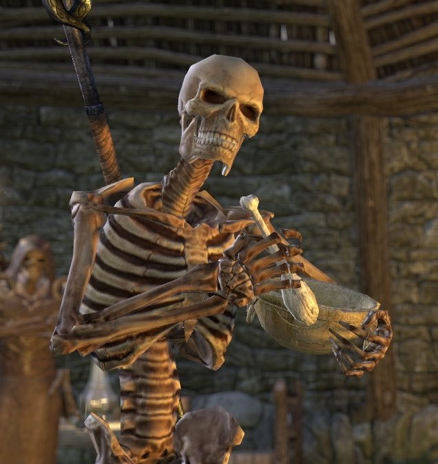 I mentioned my necromancer Erandiil uses his abilities to raise the dead in dangerous areas where bodies are trapped and need to be returned to their families but he's also in charge of tending graves in Summerset and collecting unknown bones around the island and chatting w them pic.twitter.com/aoL8AblsqZ
