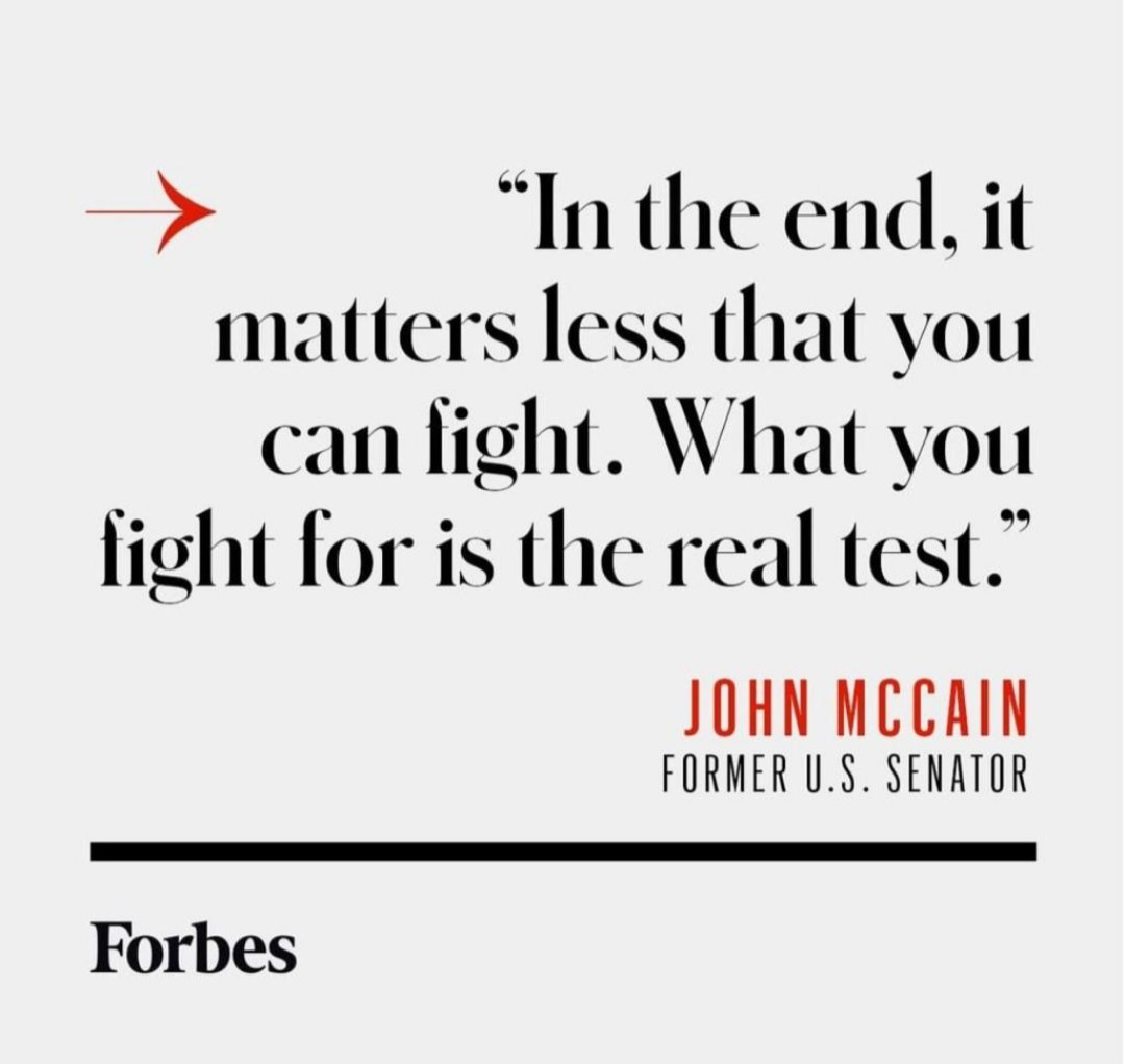 """""""In the end, it matters less that you can fight. What you fight for is the real test"""". JOHN MCCAIN  #TWFCONCEPT #ThinkBIGSundayWithMarsha https://t.co/HK7dLE3CcG"""