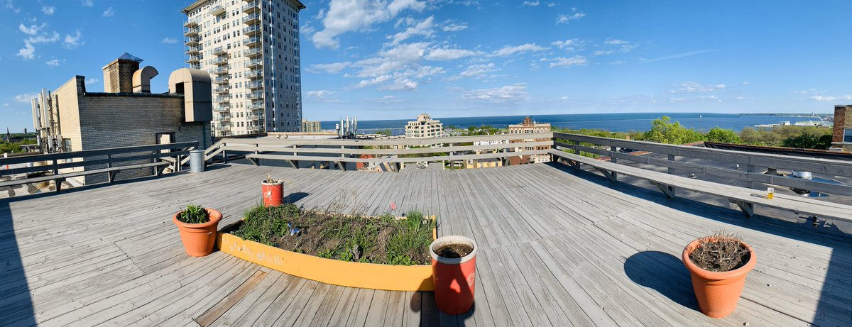 Distancing isn't so bad with a view! #LakeMichigan #MKE 🍻 ☀️