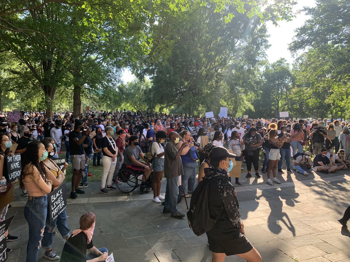 The crowd of demonstrators at Kelly Ingram Park has grown significantly.