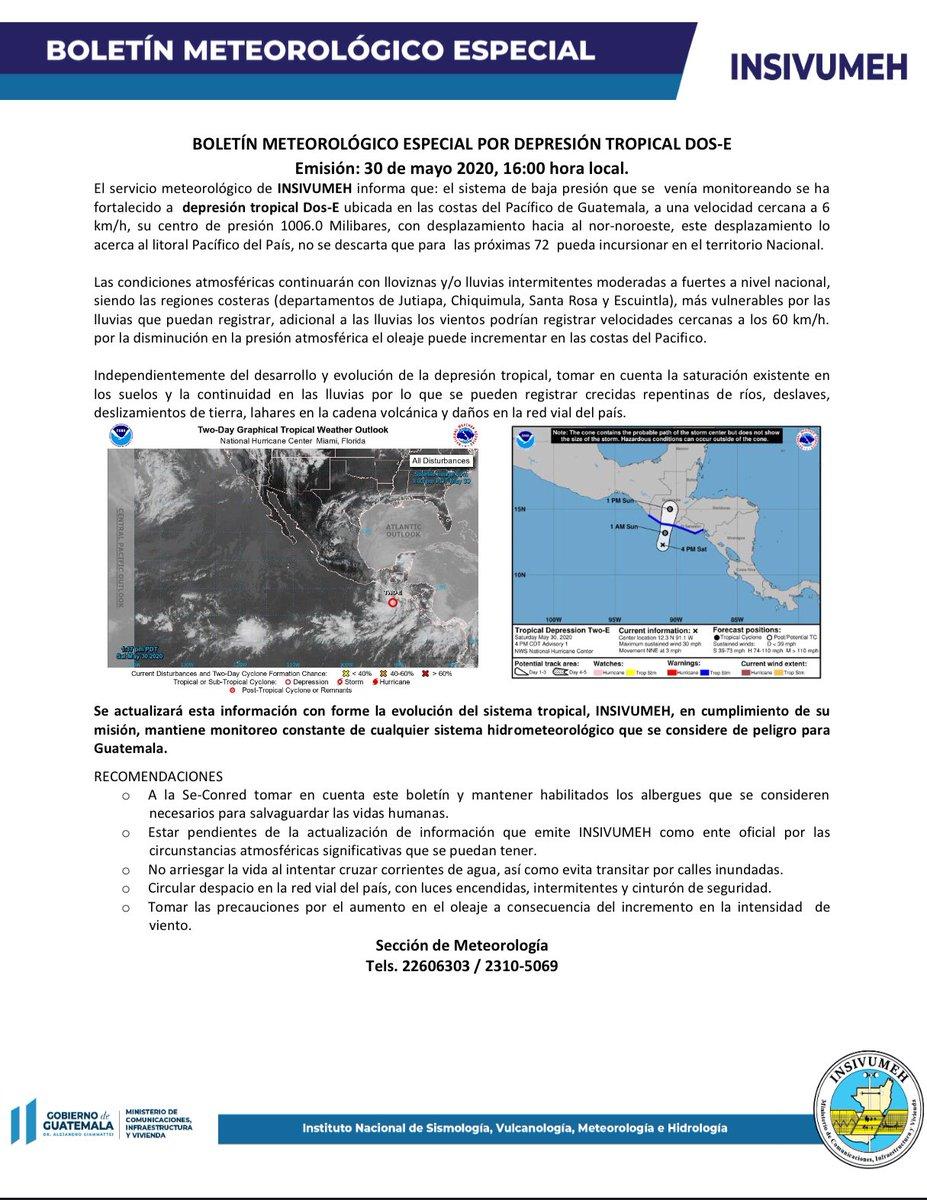 test Twitter Media - El Insivumeh informa que el sistema de baja presión se ha fortalecido a depresión tropical Dos-E. Asimismo, indican que se mantendrá monitoreo del mismo. https://t.co/g3y4JAVPfa
