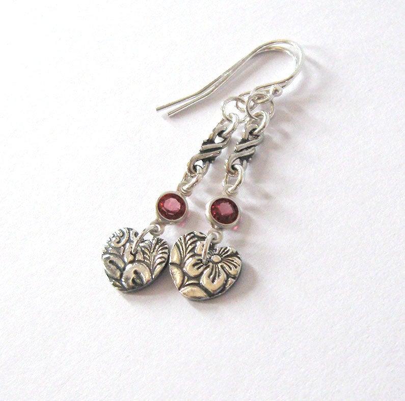 Eco Friendly Fine Silver Heart Earrings, Rhodolite Garnet Gemstone Accent, Art Nouveau Floral, Sterling Ear Wire Options https://etsy.me/2RfoyqI #jetteam #giftforwomen pic.twitter.com/2tsGM4Hc7o