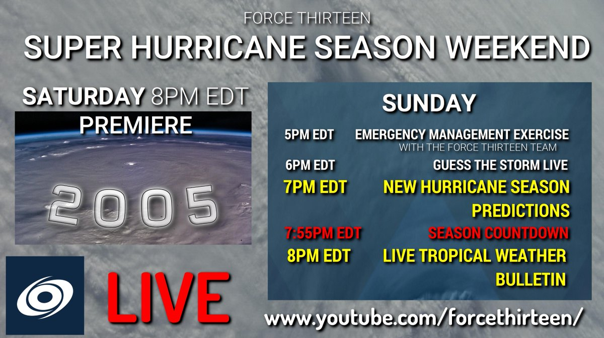 The  2005 #Atlantic #HurricaneSeason #Animation V.5 begins in under 30 minutes at 8pm EDT on #YouTube!  Watch it #live at https://www.youtube.com/watch?v=gKMdcVeCh5k…pic.twitter.com/zKi4vODEy1