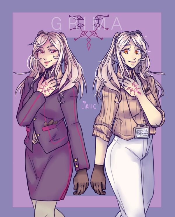 he he hee Grima in a pencil skirt and sleek pants for Robin   Business AU CEO Grima and Amnesiac Office Worker Robin #FireEmblem<br>http://pic.twitter.com/8KceZ7qPEN