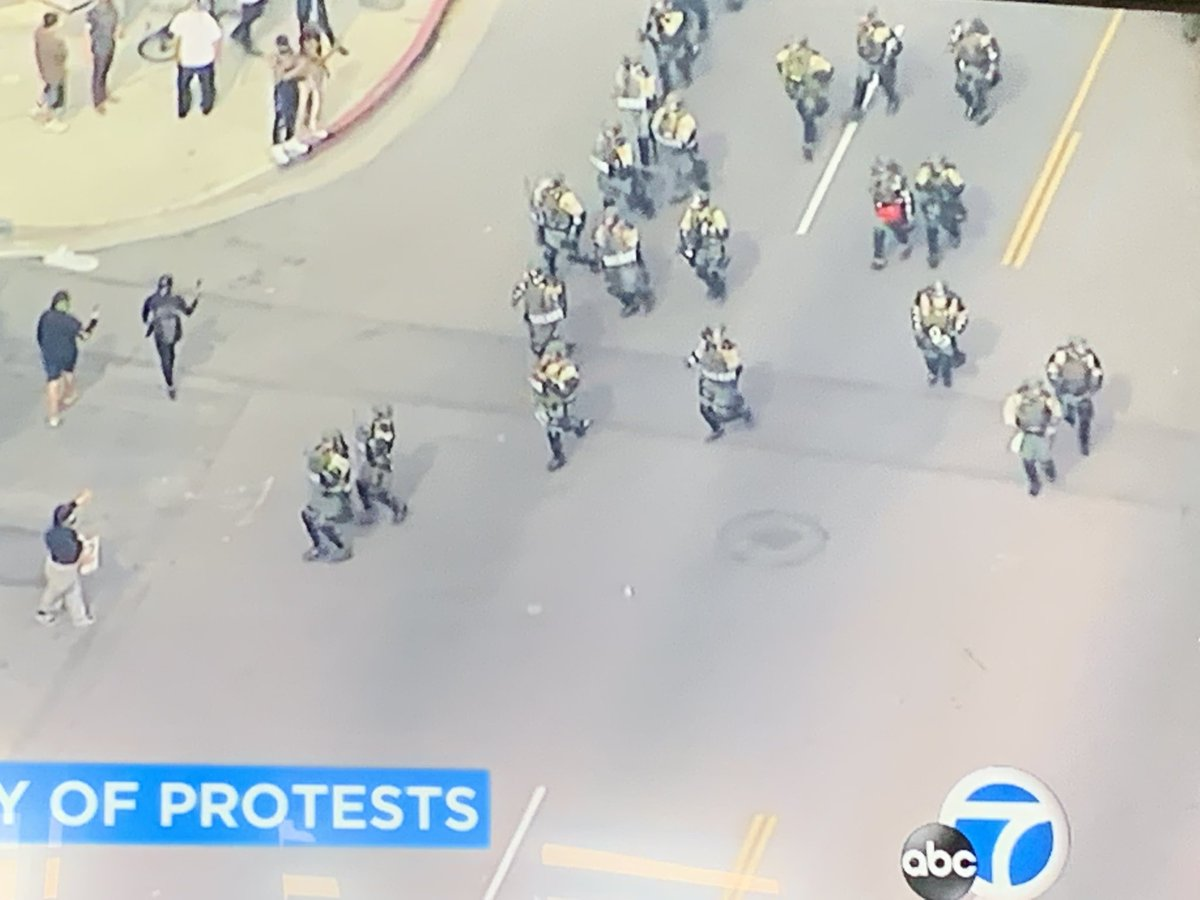 A sad day when the Fairfax district in Los Angeles looks like a war zone! #Protests #abc7eyewitness