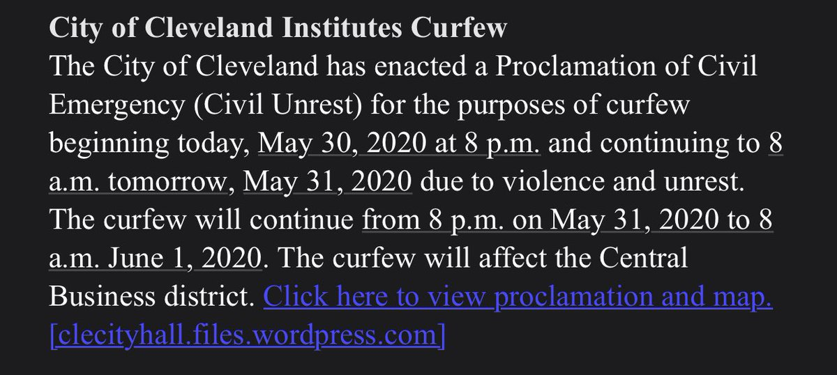 CURFEW: city of cleveland enacting curfew beginning at 8pm tonight due to violence & unrest downtown