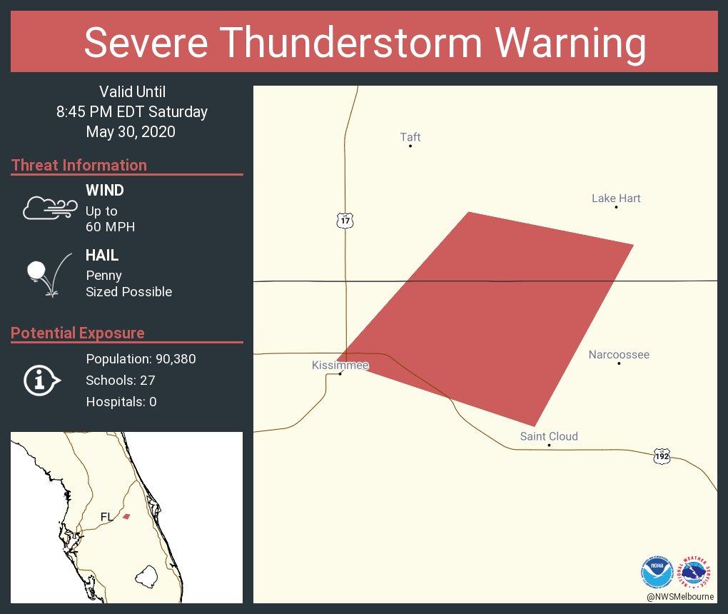 Severe Thunderstorm Warning including Osceola County, FL until 8:45 PM EDT