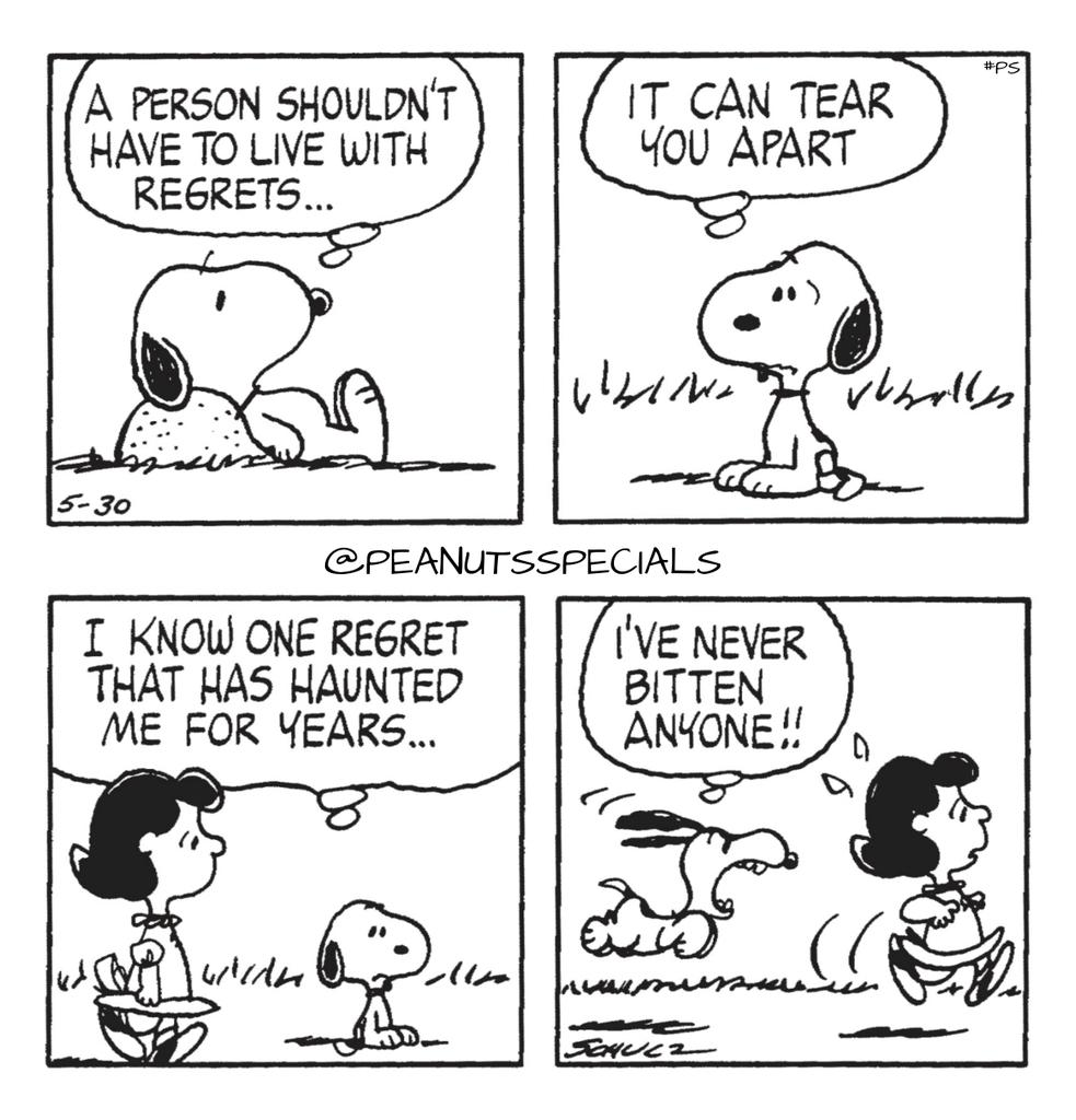 First Appearance: May 30, 1980 #peanutsspecials #ps #pnts #peanuts #schulz #peanutshome #peanutsstrong #snoopy #lucyvanpelt #person #shouldnt #have #live #with #regrets #tear #you #apart #iknow #one #regret #haunted #me #years #never #bitten #anyone https://t.co/JnvX8Wo5y5 https://t.co/zE0QaWXfXO