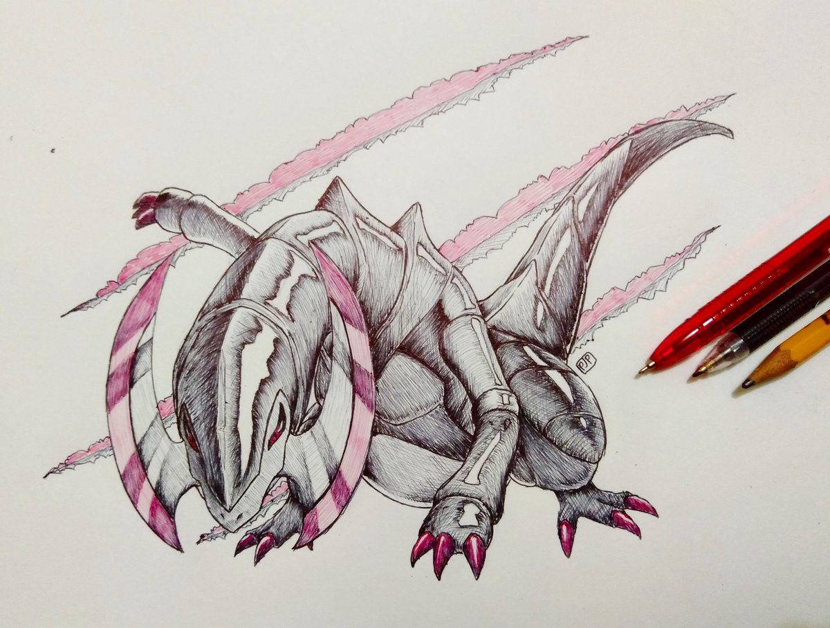 """""""Haxorus"""" Ballpoint on Paper (10/31/2018)  No new art for today so have some sharp boi I made for #Inktober2018 , the second Inktober I managed to complete (miraculously)  #artph #ArtistOnTwitter #pokemon #pokemonfanart #haxorus #ink #InkDrawing #traditionaldrawing #artshare #art<br>http://pic.twitter.com/EefQJxZrdP"""