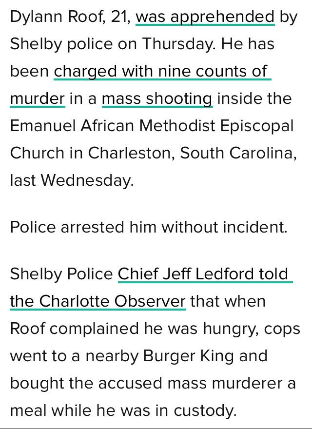 """@wal_mazon @kumailn Floyd did not resist arrest and Roof did not """"turn himself in."""" https://t.co/JPiNojcMP0"""