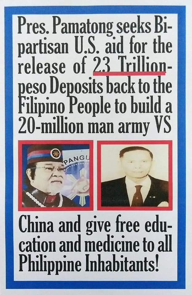 Pamatong seeks Bipartisan U.S. aid for the release of 23 trillion pesos Deposits back to the Filipino people @realDonaldTrump @JoeBiden @EsperDoD @SecPompeo @GinaHaspell1 @SpeakerPelosi @senatemajldr @USAmbManila @NSAGov @WHNSC @CIA @CNN @BBCWorld pic.twitter.com/l5jqBOwZ98