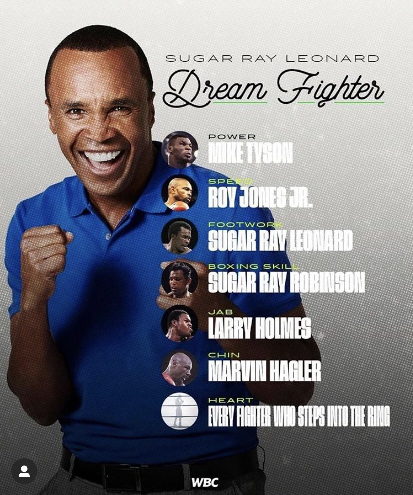 @SugarRayLeonard 🙌🏼  Power = The G Man  Speed  = Shane Mosley  Footwork = Naz Boxing Skils = Ray Leonard  Jab = Vernon Forrest Chin = Eubanks snr  Hart = everyone who gets in the ring   Who's yours ? https://t.co/Oune4Vg50B