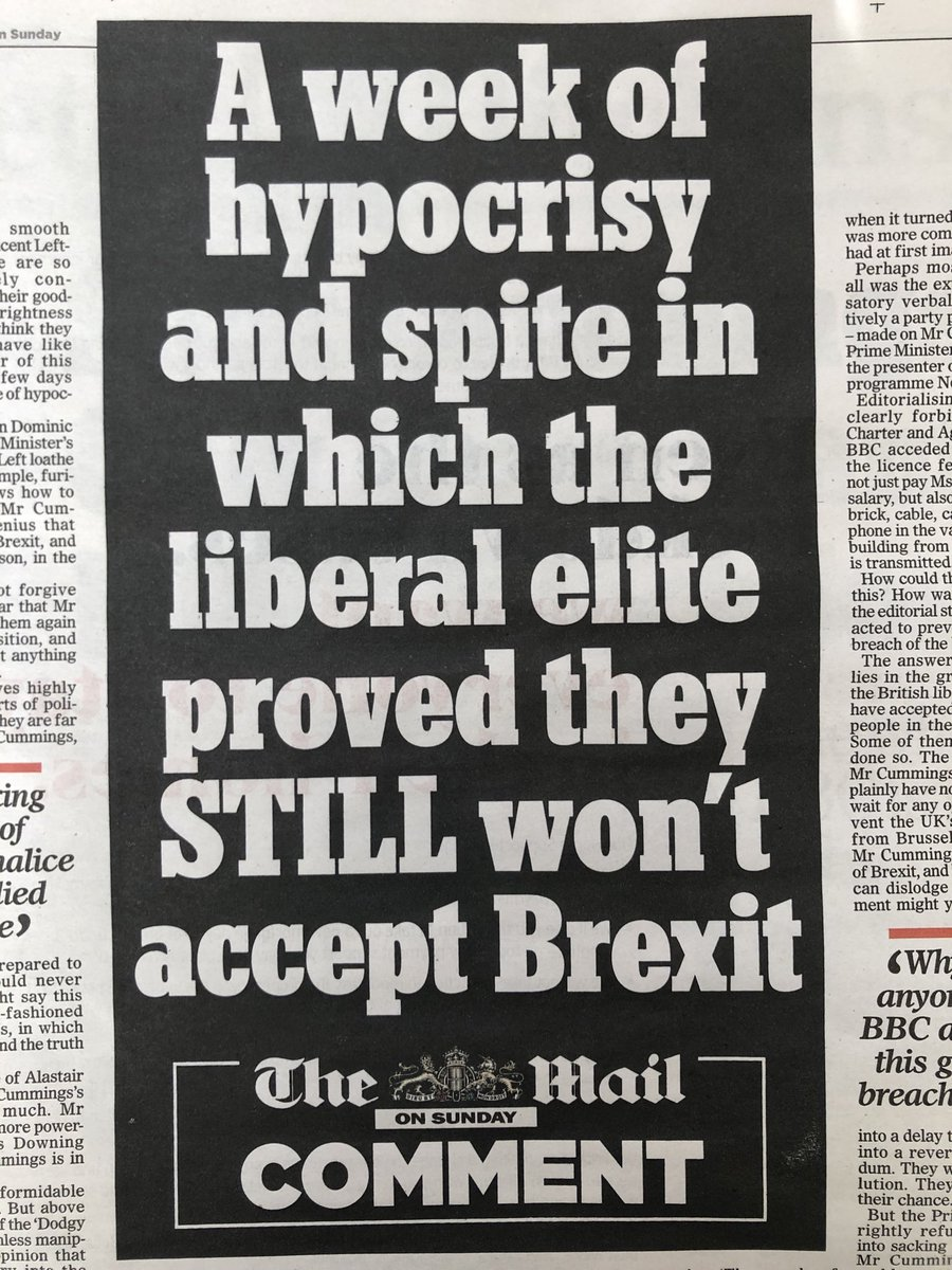 the Mail on Sunday seems to disagree with the Daily Mail