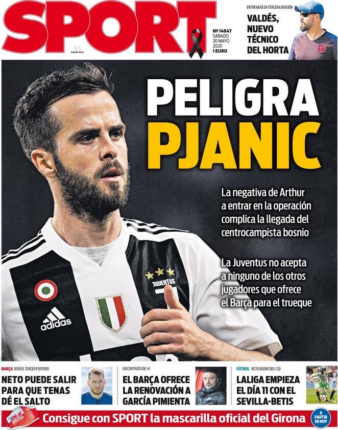 #SPORT Newspaper    PJANIC IN DANGER Arthur's refusal to enter the operation complicates the arrival of the Bosnian midfielder. pic.twitter.com/gu3CfG9V8W