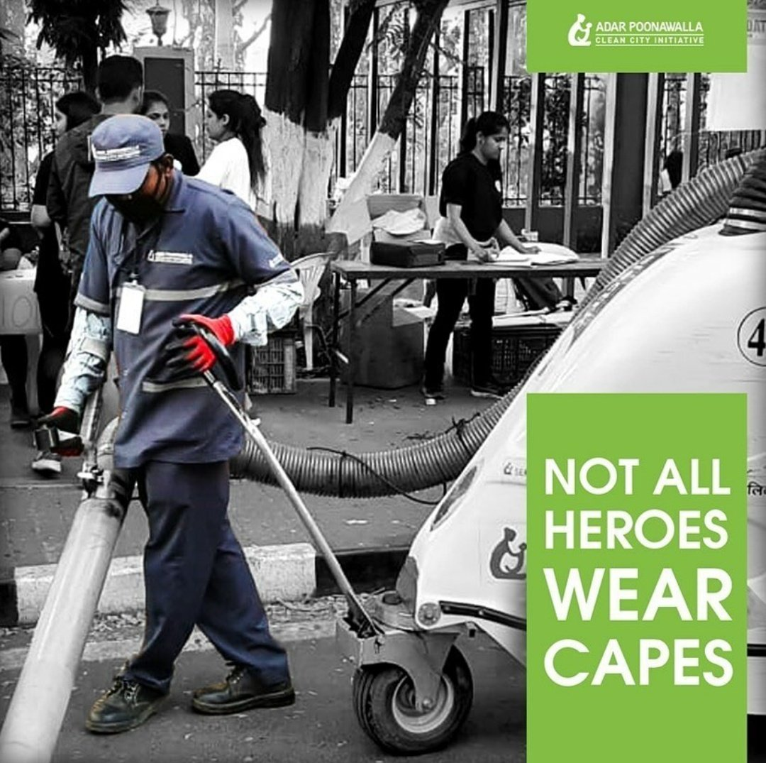 Not all heroes wear capes! Im truly grateful to see the work of over 450 of our @CleanCityPune staff in cleaning the streets of Pune during times like this. #APCCI #keyworkers
