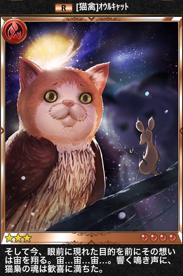 地上から失礼します、オウルキャットは神撃のバハムートを代表するイカれたキャラにして、シャドウバースでも新規描き下ろしが実装されるほどの人気を誇るキャラですよ
