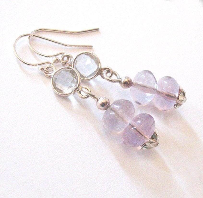 Lavender Purple Fluorite Earrings with Faceted Clear Quartz, Sterling Silver Drop Earrings, Flower Motif, Ear Wire Options https://etsy.me/2lUxl0Z #giftforwomen #jetteampic.twitter.com/RGvfrQKVUU