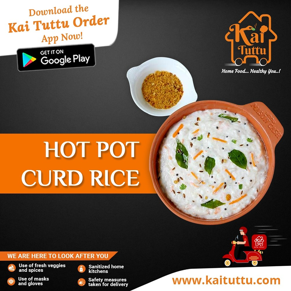 Hot curd rice is so soothing and yummy during rains. And that's why Kai Tuttu offers a wide range of homemade dishes.  Download the Kai Tuttu Order App now: http://bit.ly/2UFqY46  For more details, visit http://www.kaituttu.com #kaituttu #homemadefood #foodorder #healthyfood pic.twitter.com/uw1K1UMl7t