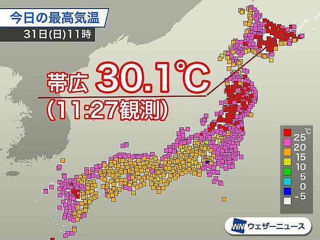 【真夏日】北海道・帯広など、2日連続で30℃超え快晴と夏を思わせる暑さはあす1日まで続く見込み。いつも以上にこまめに水分を摂って熱中症対策を万全にしてください。