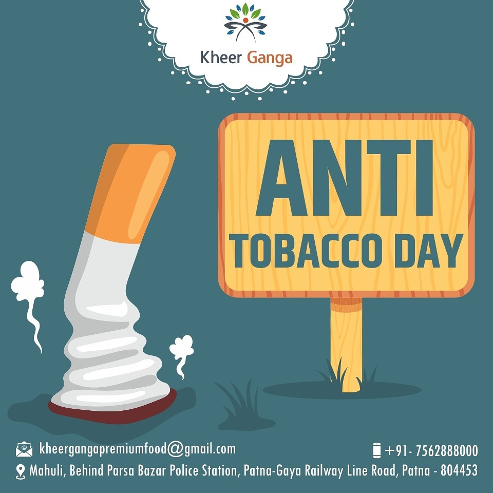 Use of tobacco is risky to your health. Quit chewing and consuming #Tobacco and do wonders to your health. . . . . . .  #WorldAntiTobaccoDay #kheergangapremiumfood #food #foodstagram #instafood #foodie #healthyfood #launchingsoon #patna #biharpic.twitter.com/v58HN2vacC