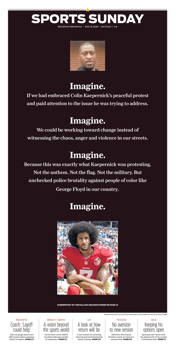 The Sports cover of the Houston Chronicle.