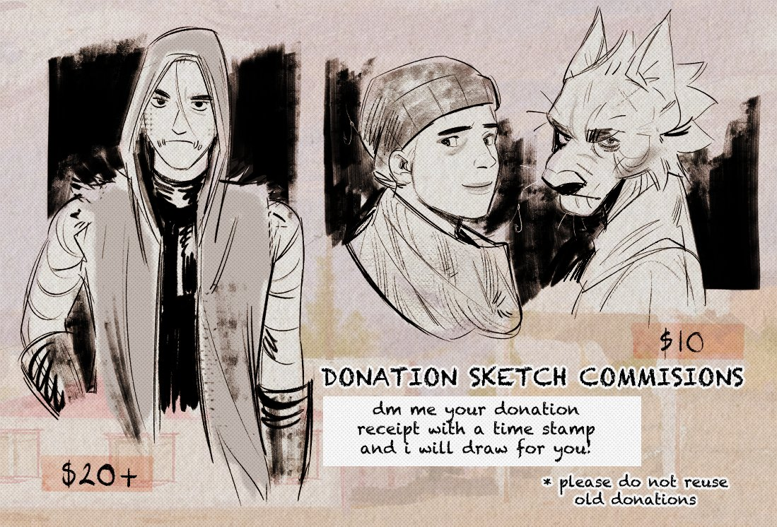 hey everyone! im going to be doing donation sketch commissions (in usd) . if you DM me a timestamped receipt screenshot as proof of donation to any of the the orgs listed below, i will draw you something! (links in reply)