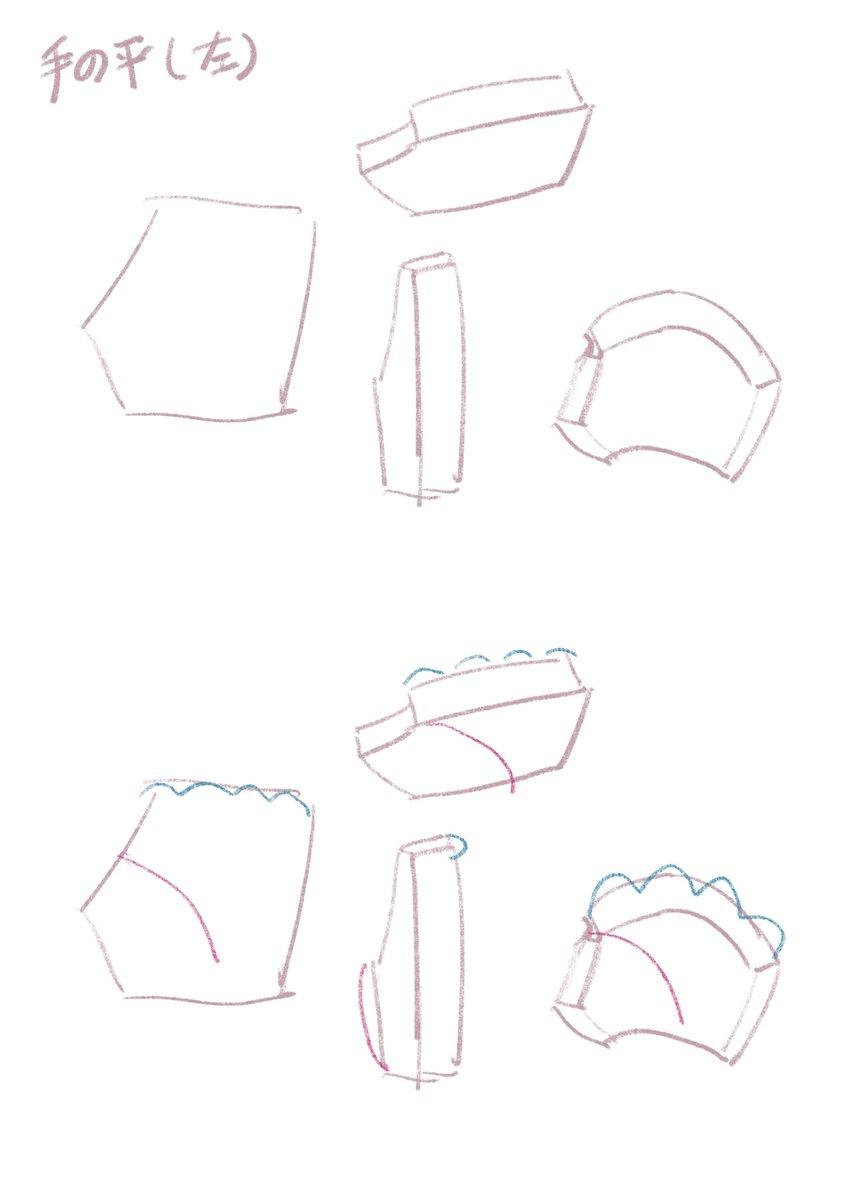 手の描き方のリクエストを頂くのですが、手は本当に複雑で難しいので描き方というか私の考え方になりますが💦下のようにラフを取って指を描き足してます。#お絵描き