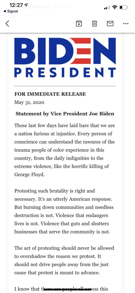 """NEW from @JoeBiden: """"We are a nation in pain, but we must not allow this pain to destroy us. We are a nation enraged, but we cannot allow our rage to consume us. We are a nation exhausted, but we will not allow our exhaustion to defeat us."""" https://t.co/79Brk51Ws4"""