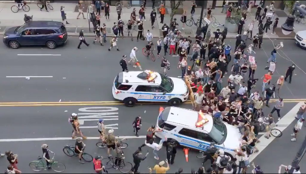 Video shows NYPD vehicles driving into protesters in Brooklyn