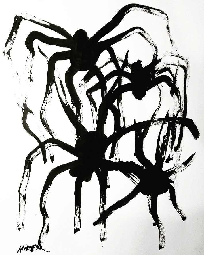 """#pintura #paint #painting #paintings #cdmxart  #abstractartwork #draw #drawing  #art #arte #arteabstracto #abstractart """"Spiders""""44X31.5CM#maman #artist  #louisebourgeois  #artecontemporáneo #esculture #inspiration For sale information by DMpic.twitter.com/p91ZHmkvl7"""