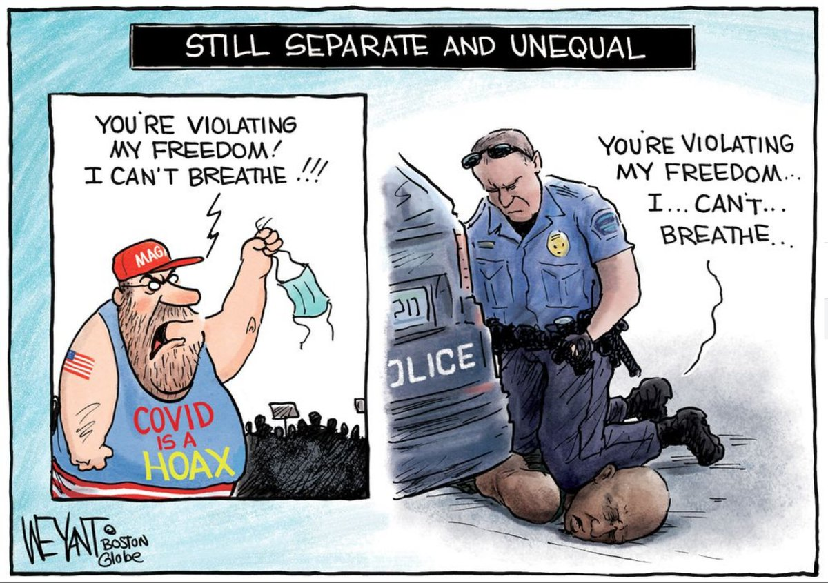Separate but unequal. Youre violating my freedom. I cant breathe. Cartoon by Christopher Weyant, Boston Globe.