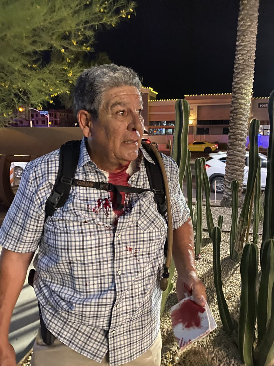 Our security guard got attacked while protecting us during our live shot. We're getting him some help right now #azfamily https://t.co/kIKxJpGI8D