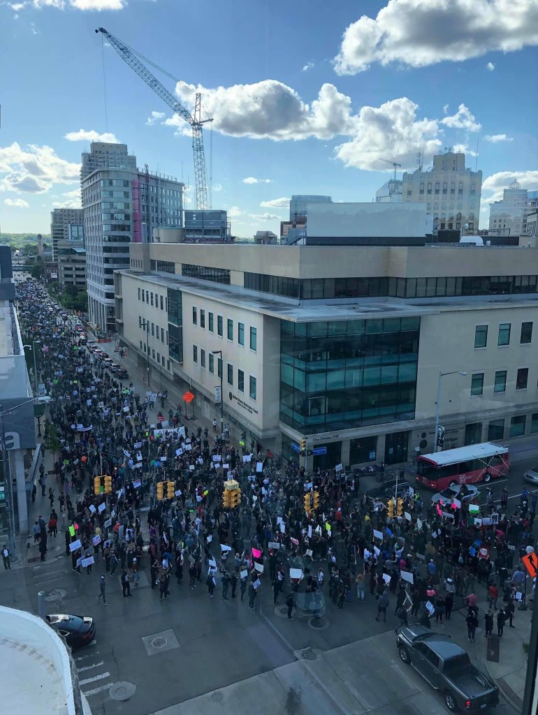 Grand Rapids, Michigan ❤ George, your name will never be forgotten. Justice will happen 💯🤞 our system will be changed! Rest in Paradise King 🙏  #JusticeForGeorge #BLACK_LIVES_MATTER #BlackLivesMatter #GeorgeFloyd #GeorgeFloydProtests #BLACK_LIVES_MATTER https://t.co/qZbi7I9K56