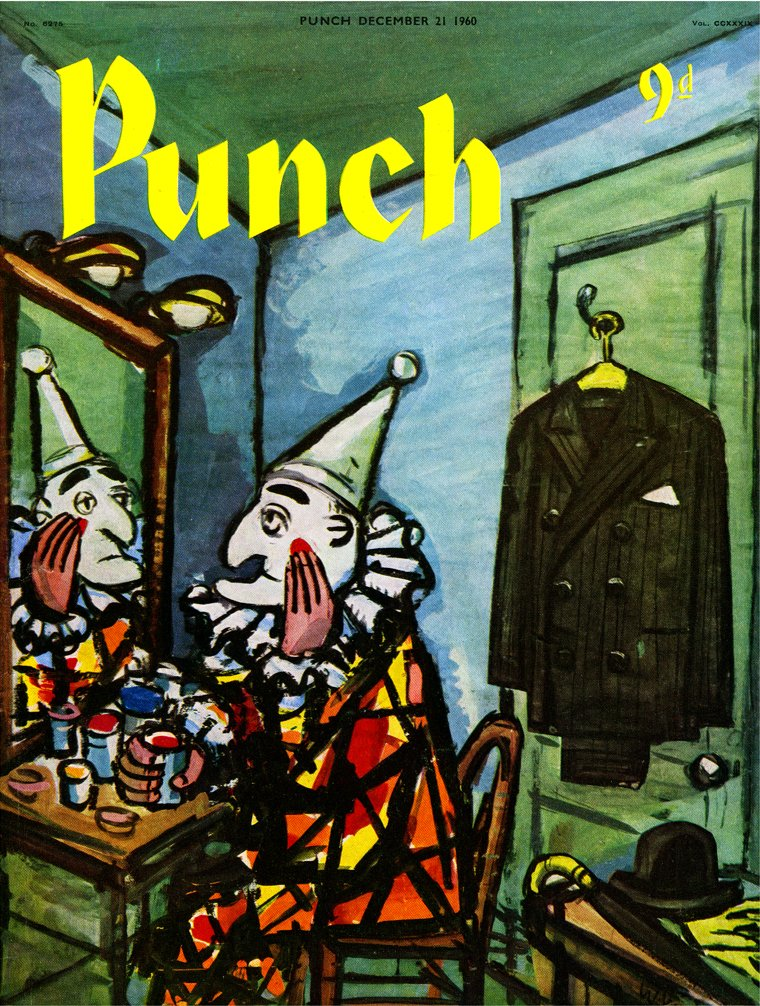 Your daily PUNCH colour cover by Bill Scully. From 1960. Mr Punch puts on the face of a clown. #circus #makeup #transformation #theatre #theatrical #identity #illustration #graphicdesign #facades
