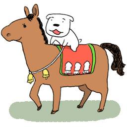 たぐちゆうこ 昔描いたむっちり短足馬 足は遅いが力は強そう 今日はテレビで馬がいっぱい走っているのを見ました あんなに近くて速くてよくぶつからないもんだ