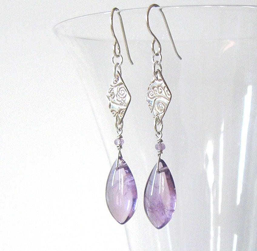 Amethyst Gemstone Eco Friendly Fine Silver Kite Earrings, One of a Kind, with Sterling Silver Ear Wire Options https://etsy.me/36gVPpQ #jetteam #giftforwomen pic.twitter.com/EpjxettleO