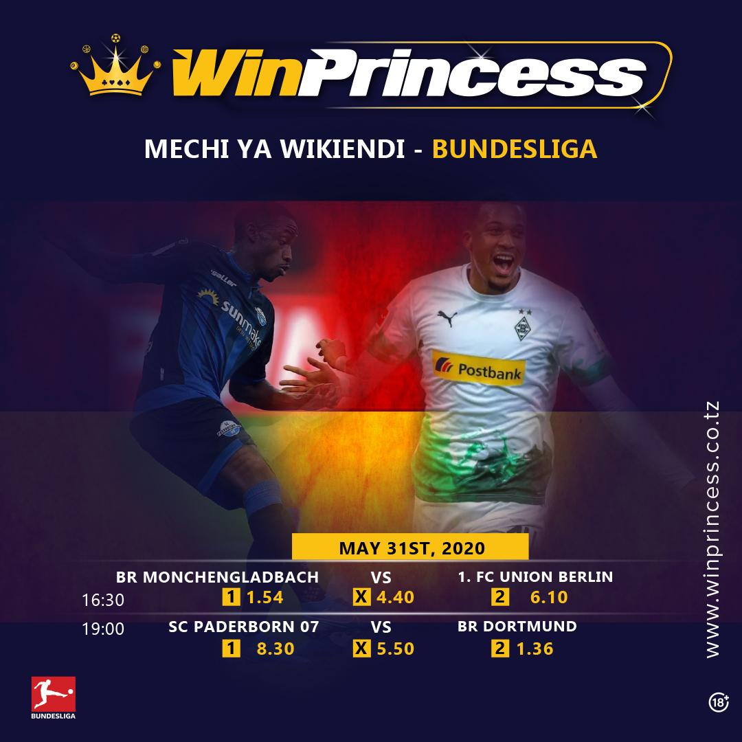 Hizi ndio mechi kali za leo za Bundesliga!  . Weka Bet yako http://www.winprincess.co.tz sasa upate nafasi ya kupata bonus hadi x20 ya dau lako. . Piga 0746983800 Huduma kwa wateja. . #Winprincesstz #bundesliga #Sportsbetting #betting #sports #bet #soccer #bonus #sundayvibespic.twitter.com/XsoPfZKVVi