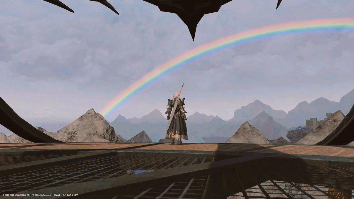 漆黒のヴィランズ、クリアしました。 クリスタリウムへ帰ってきたら、虹が掛かっていて。こんなにも清々しいのが、また少し、切なくなりますね。 その境地には、遥か遠く及びませんが、私は確かに、受け取りましたよ。 #FF14
