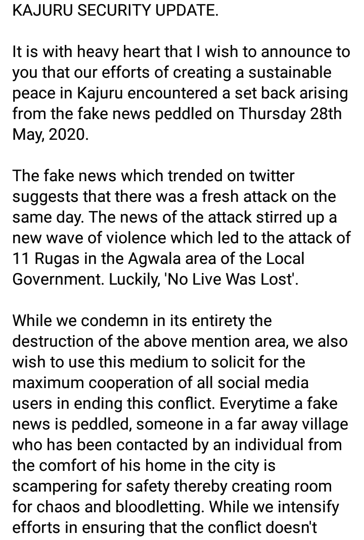So the Fake news they trend about  #SouthernKadunaMassacre on 28th May leads to destruction of 11 fulani Ruga Community in same kajuru.....  This is serious!!! https://t.co/fjzWAqm0jN