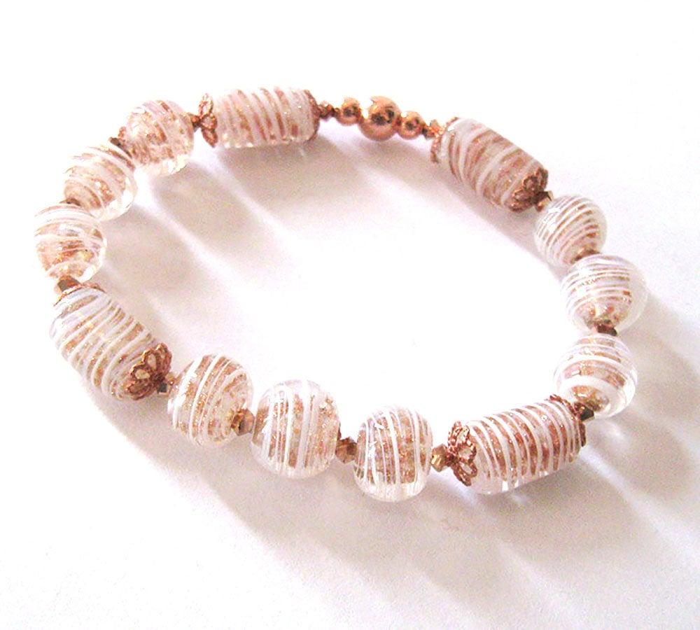 Murano Glass Beads Stretch Bracelet Vintage Venetian Beads, Copper Aventurine Glass, Rose Gold Swarovski https://etsy.me/2qke1im #giftforwomen #jetteampic.twitter.com/PnIU3Xb0fi