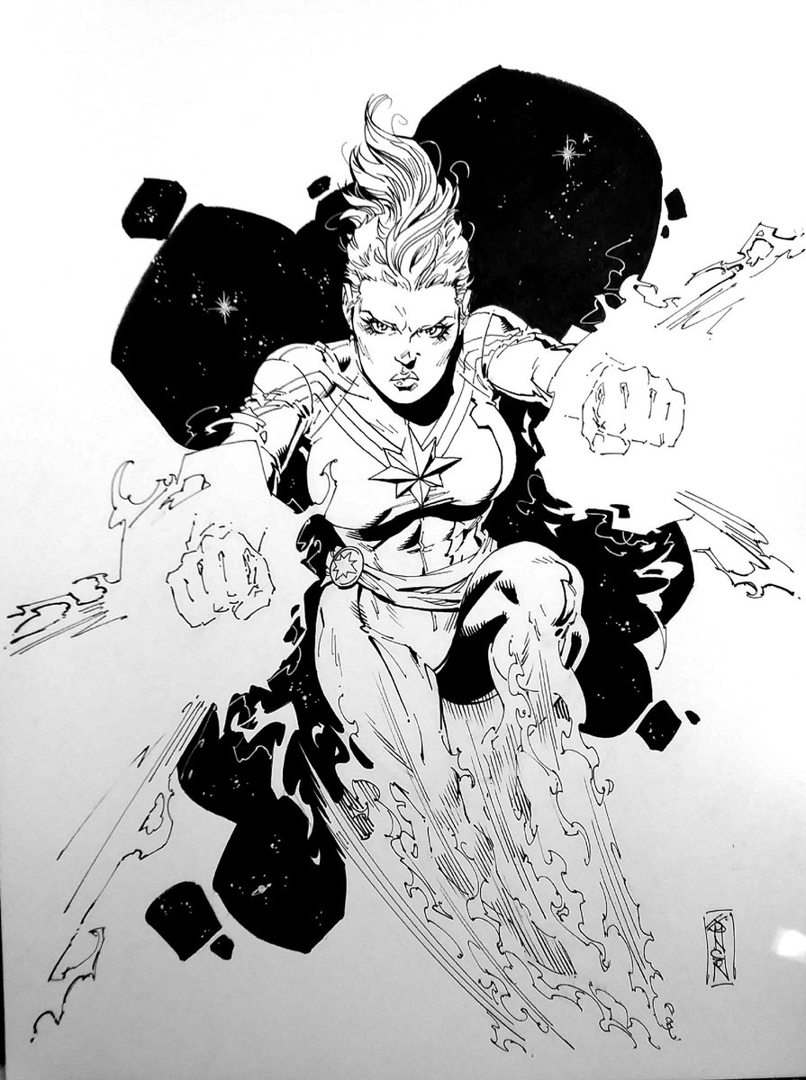 #comicartlive from your couch,  ends Sunday! Great deals and new art all weekend long with #TDArt  Super deals on @JasonJohnsonArt , this Captain Marvel is only $75! https://www.comicartfans.com/comicartlive/BoothPiece.asp?rpid=103 … #originalart #comicart pic.twitter.com/KiS2mb3T6w