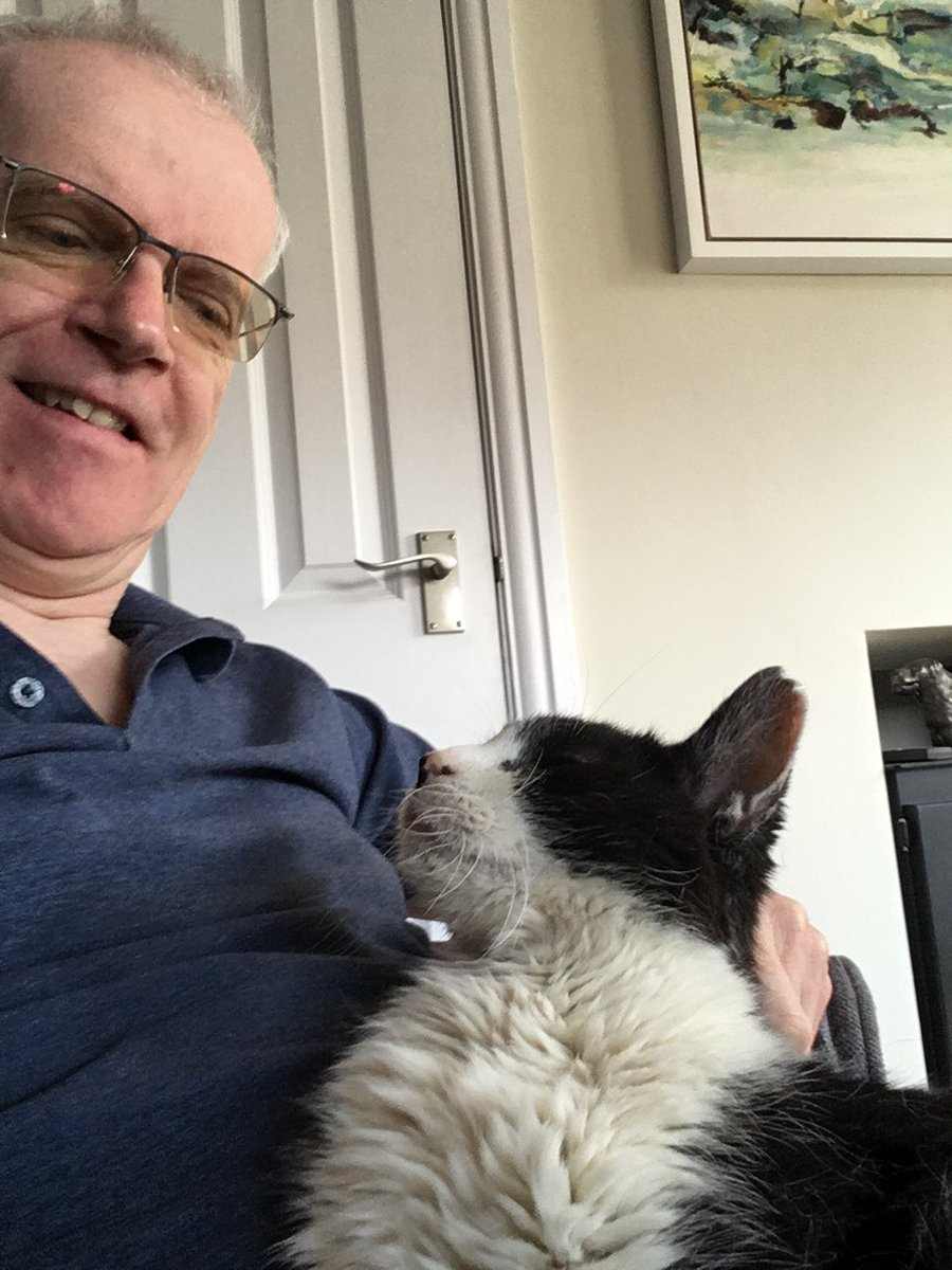 Look, here he comes himself.  Here is a purr of fortune's, sir, or of fortune's cat.  AWTEW A5Sc2 #ShakespeareSunday [Lockdown #selfie with Todd.] pic.twitter.com/d2J3st30hE