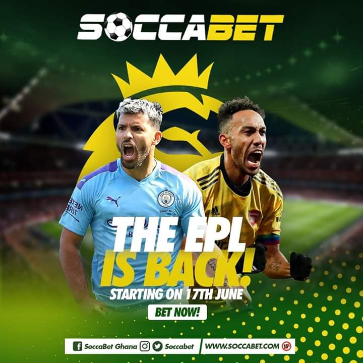 NOTE  The @premierleague is back!   Are you ready?    Bet with Soccabet for higher odds and instant payouts.   Your best bet for sports betting #PremierLeague #Soccabet  #Ghana #ManCity #Arsenal #covid #COVID19Ghana #torontoprotest #betting #sportsbetting #betnowpic.twitter.com/NUZFsXWHDq