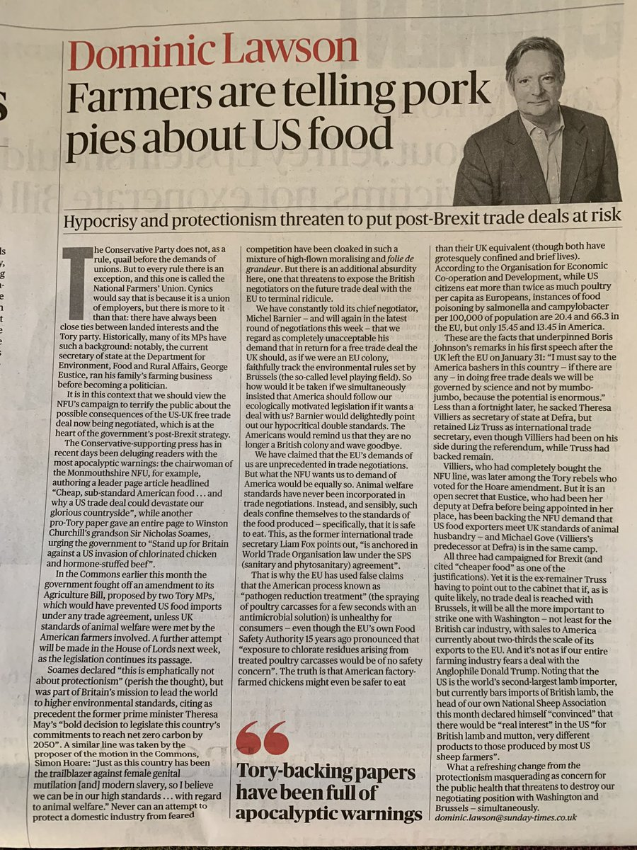 Ouch..Dominic Lawson piling into the @NFUtweets @Simon4NDorset & @NSoames  in @thesundaytimes   Ever the economist Mr Lawson hasn't grasped @neil_parish amendment was also to preserve public goods; natural capital, habitats, rural communities and landscapes. Not just about trade! https://t.co/R2GlZy1byr