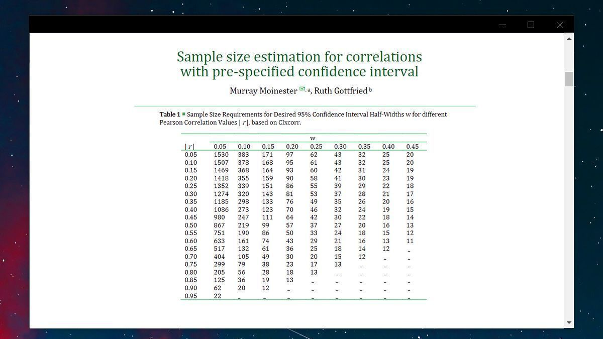 """Are you interested in the """"specific value"""" of a correlation, or merely want to know r =/= 0? If the latter, a standard power analysis is for you. If the former: consider planning a study that will yield a sufficiently small 95%CI on r. See r values & CI widths attached.  #phdchat https://t.co/B2KZOf8F7Y"""